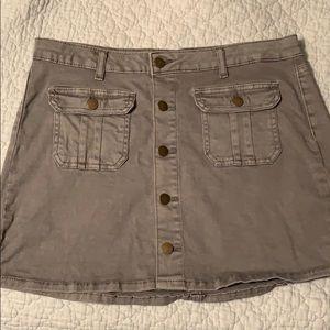 Gray button-up skirt